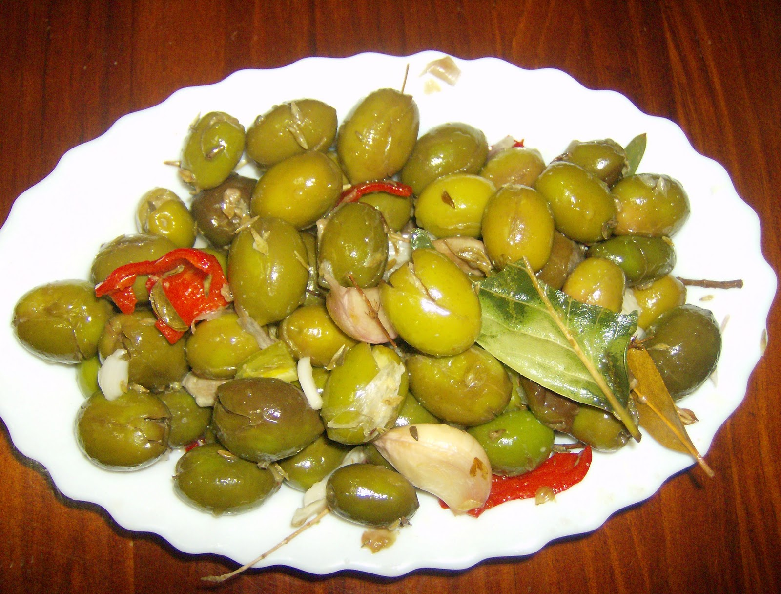 Receta de aceitunas verdes machacadas